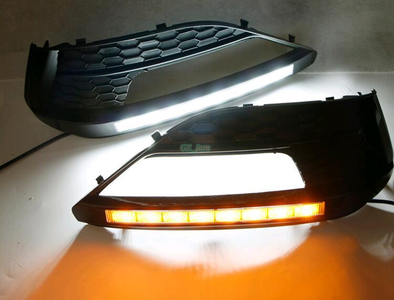 LED DRL daytime running light for MG6 MG 6 09-13 Turn Signal and dimming style Relay with yellow turn signal blue night light led drl daytime running light for mg3 mg 3 2010 13