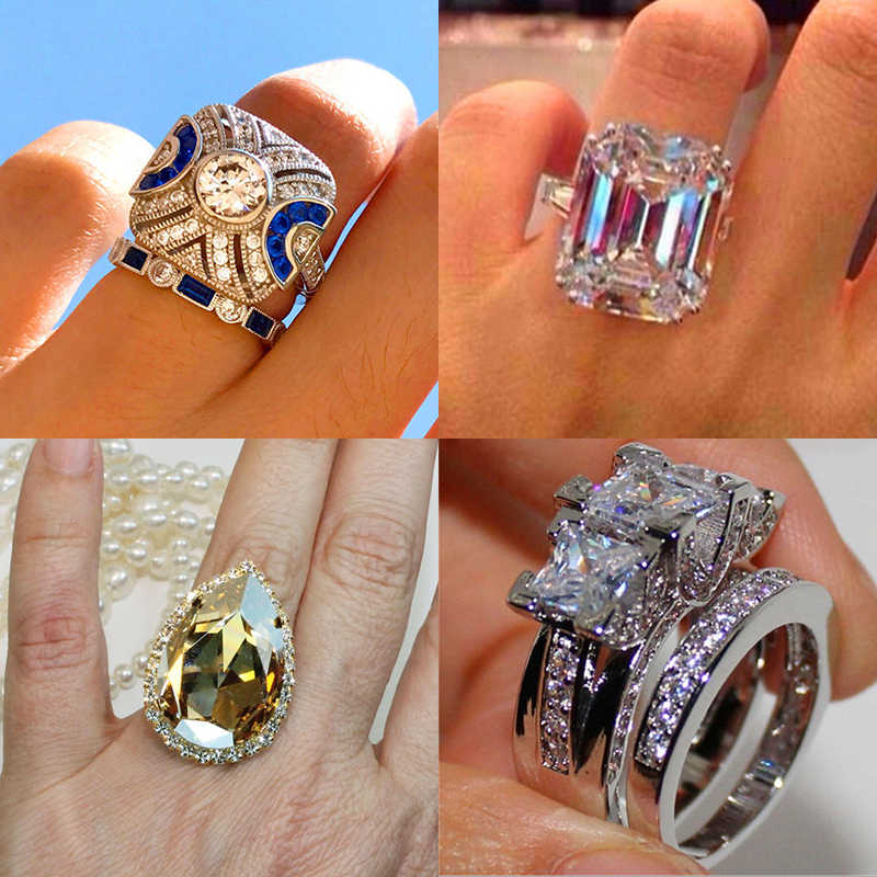 Luxury Female Crystal Zircon Stone Ring Vintage 925 Silver Wedding Ring Set Promise Engagement Rings For Men And Women