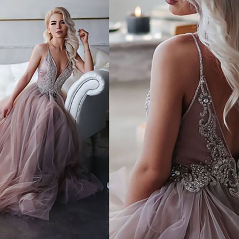 Smileven Evening Dresses 2019 Spaghetti Strap Dirty Pink Evening Gowns For Girl Backless Sexy Beaded Party Prom Gowns For Party in Evening Dresses from Weddings Events