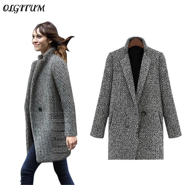 5dbfb60e8fe Плюс размер S-7XL 2019 Новый Для женщин шерстяные пальто осень На зиму
