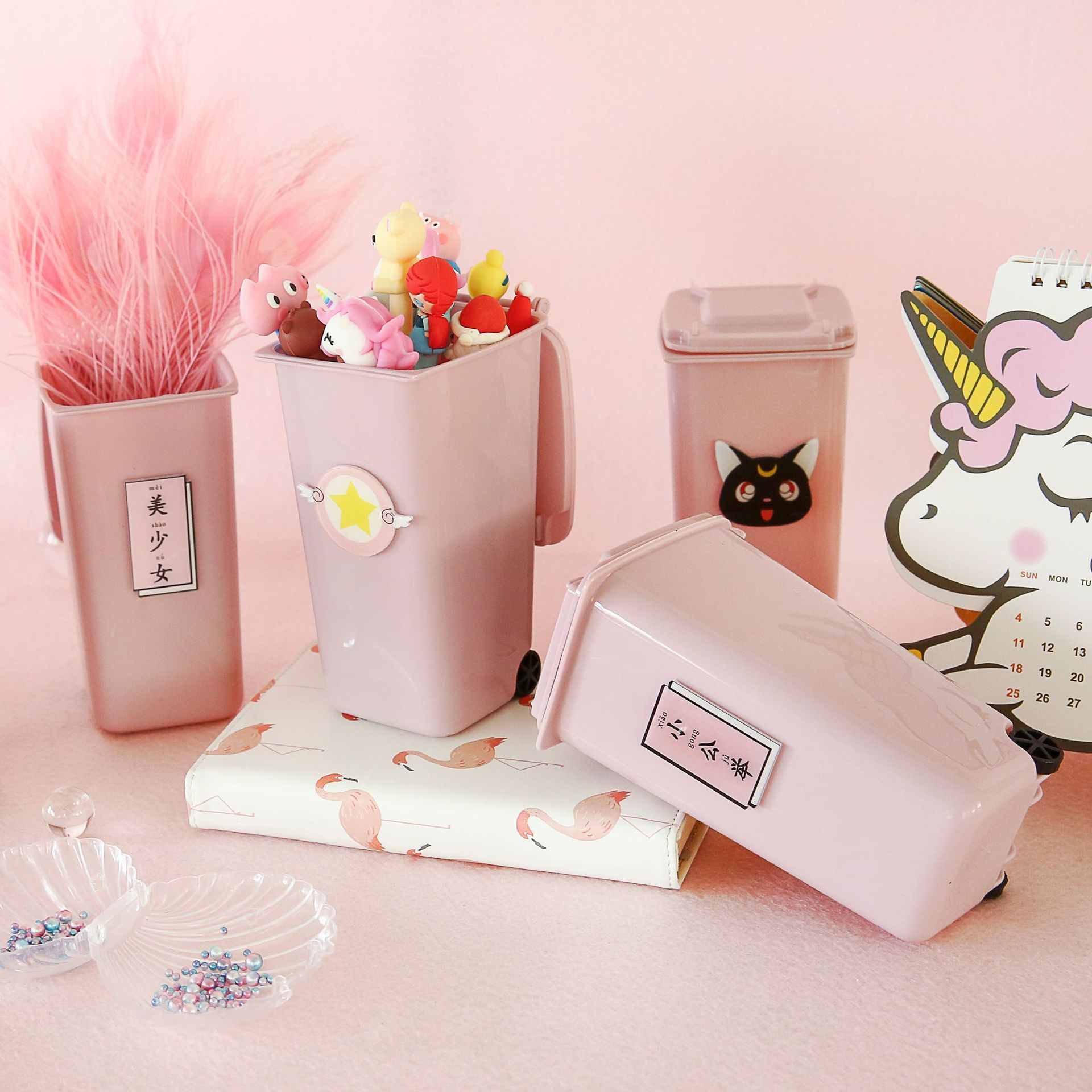 Pink Lovely Cartoon  Desktop Pen Container Office Accessories School Stationery
