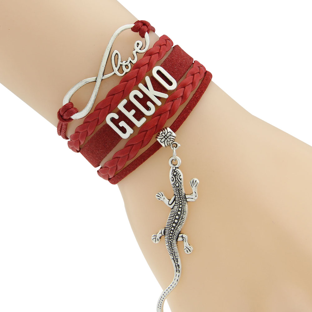 Waxed Cord And Braided Cord Bracelets Gecko Bracelets Wording GECKO 5 Colors Drop Shipping Europe Style