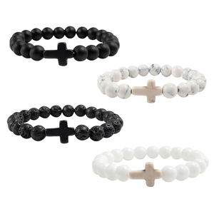 Charm Natural Stone Bracelet Cross Black Lava Matte Beaded Bracelets Handmade Men Women Prayer Fitness Chain Couple Jewelry Gift(China)