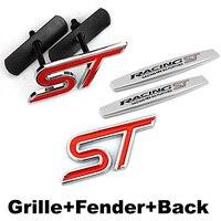 4pcs Sets ST Racing Front Grille Fender Side Sticker Back Sticker Car Emblem Badge For Ford