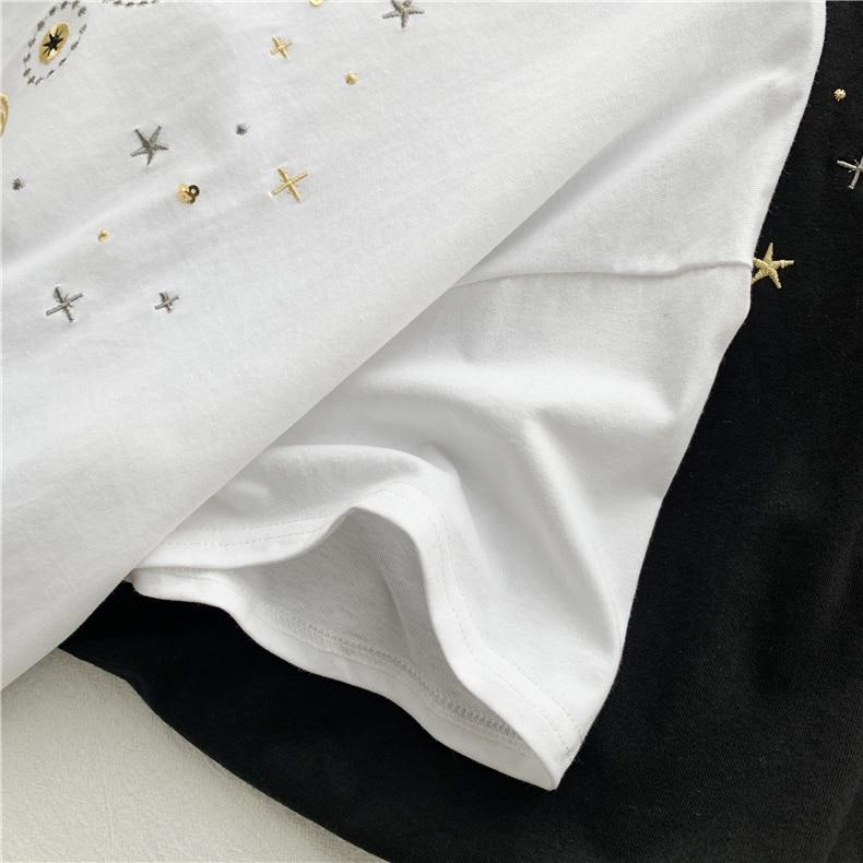 Fashion star embroidery Tee Shirt Femme korean Kawaii T Shirt Women Funny Short Sleeve T-Shirts harajuku white Black Tops Female 13