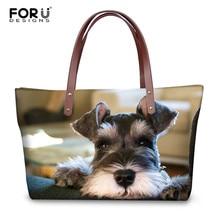 FORUDESIGNS Schnauzer 3D imprimir bolsas de hombro de las mujeres ocasionales perro Animal bolsos de diseñador de marca bolso de compras para las señoras Bolsa