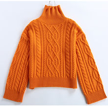 Turtleneck women casual loose horn sleeve pullover sweater large size outerwear sweater wild Spring and autumn(China)