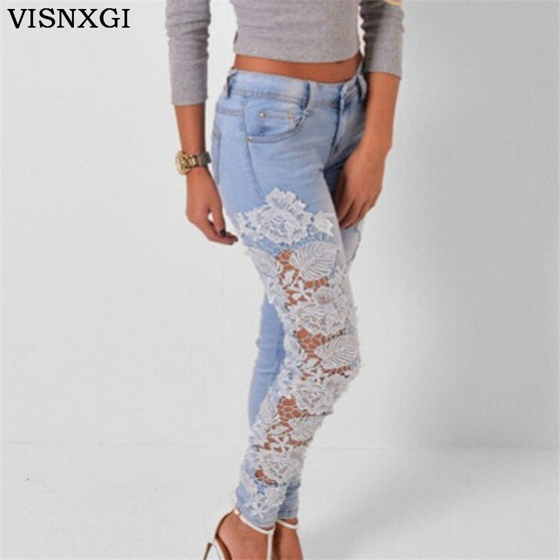 Sexy Women Denim Light Blue Skinny Jeans Crochet Lace Party Female Carve Flower Pants for women Plus Size S-3XL Clothing K096 sexy women denim light blue skinny jeans crochet lace party female carve flower pants for women plus size s 3xl clothing k096