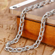 Real 925 Sterling Silver Necklaces Fashion Punk Heavy Long Thai Chains For Men Lucky letter Jewelry Christmas Gift 396