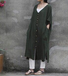 Originale Courtes Manches Chemise Lâche D387 Blouses Breasted Poche Green Army Art 2018 Fan Robe Lady Conception Grand Froissé Lin x5qPXY8w