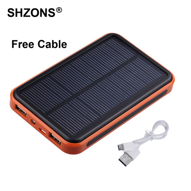 Portable 8000mAh Solar Charger Power Bank Waterproof Battery Charger Dual USB Powerbank for iPhone 5s 6s 7 Plus for Samsung S7