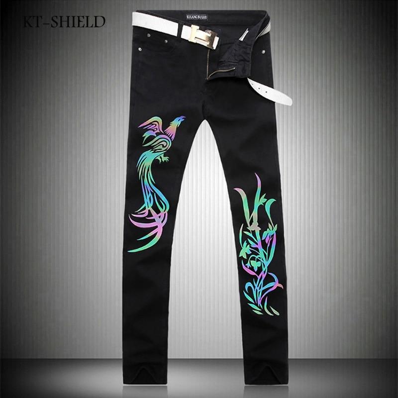 ФОТО Black 3D Luminous Phoenix Printed Men Jeans Homme Unique Man Printing Jeans Cotton Large Size Skinny Jeans For Men Denim Pants