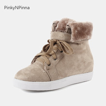 women flat high top sneakers lace up turned over fur round toe vulcanized snow heightening shoes warm soft preppy style winter