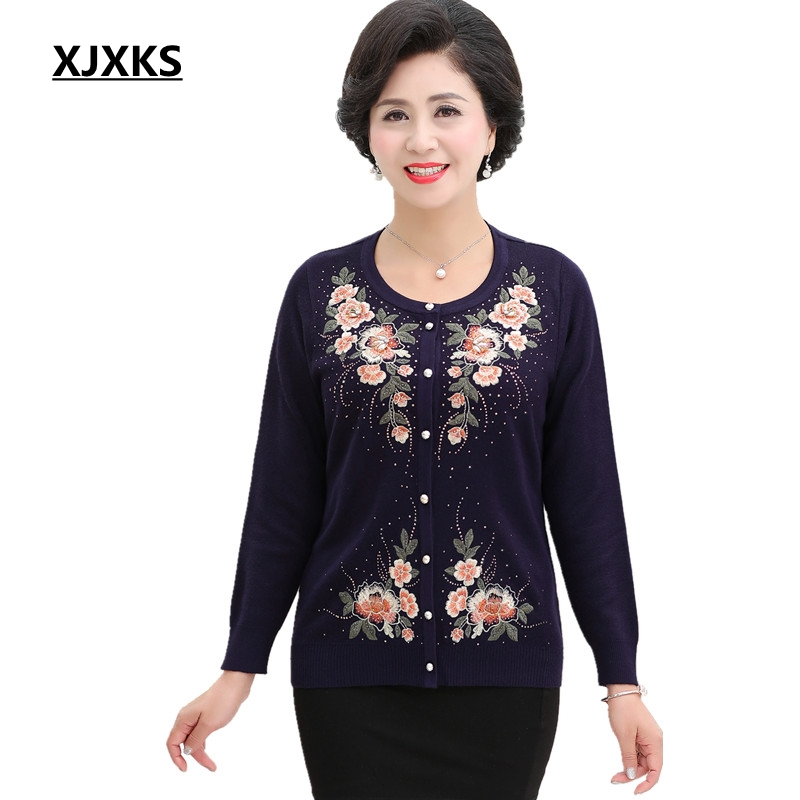 XJXKS Embroidery Sweaters Exquisite Workmanship Cardigan Women Plus Size Autumn 2018 Knitted Sweater Vintage Oversized Sweater cardigan