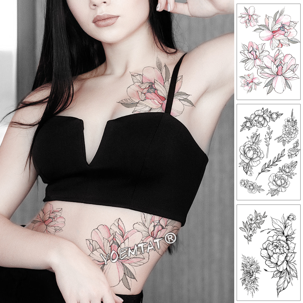 Pink Peony Rose Flower Waterproof Temporary Tattoo Sticker Black Tatto Body Art Big Arm Hand Girl Women Fake Tatoo