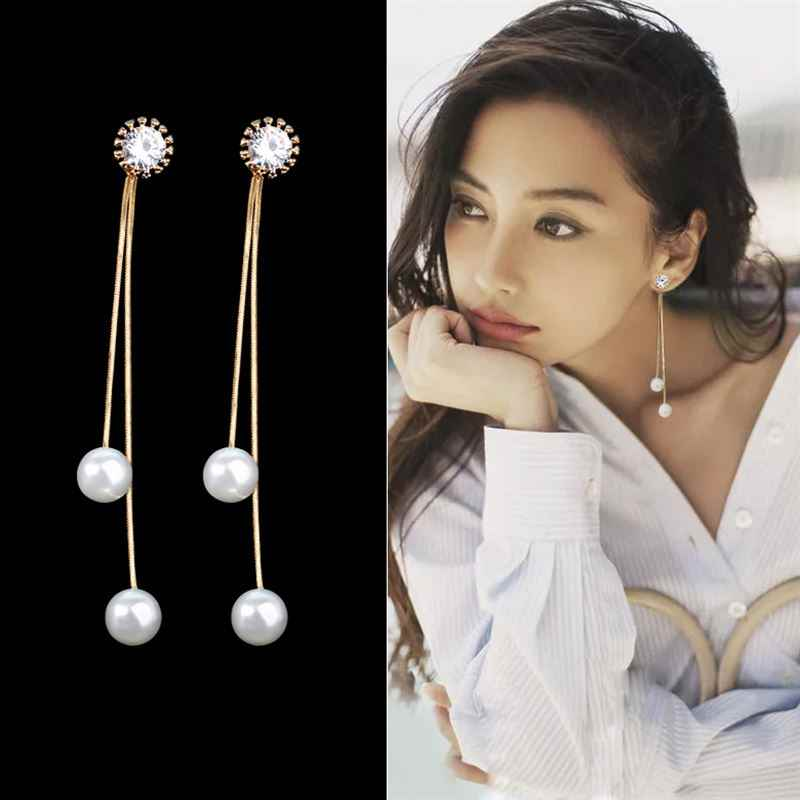 EK249 Elegant Pendientes Flecos 2019 Women Long Earring CZ Pearl Charm Pendent Snake Chain Tassel Earring Bridal Wedding Jewelry
