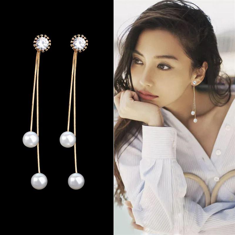 Elegant Pendientes Flecos Women Long Earring CZ Pearl Charm Pendent Snake Chain Tassel Earring Bridal Wedding Jewelry