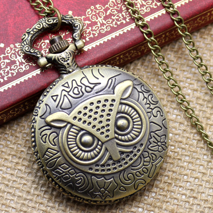 Retro Bronze Owl Pattern Pocket Watch Free Shipping Antique Quratz Fob Watch WIth Necklace Chain Gift