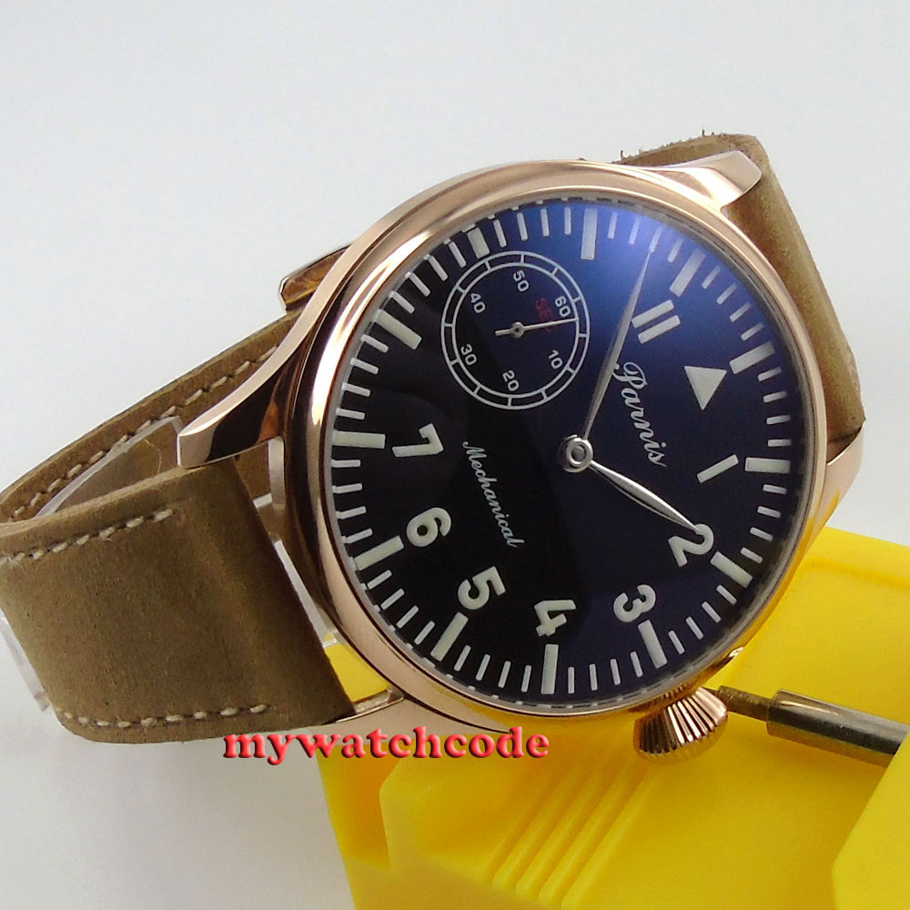 купить 44mm parnis black dial golden case 6498 movement hand winding mens watch P461 по цене 6282.97 рублей