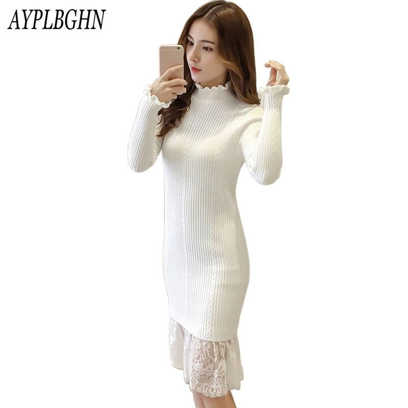 2018 Robe mode femmes automne hiver pull robes Slim col roulé Sexy moulante couleur unie Robe en dentelle tricotée Robe 8L92