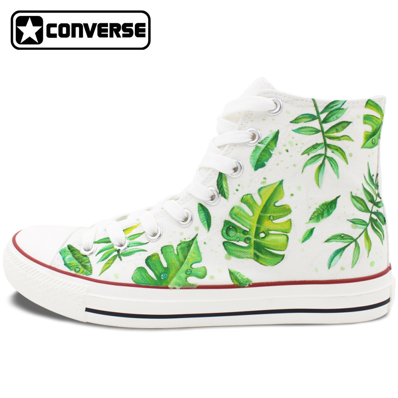 Converse All Star Men Women s Hand Painted Shoes Design Green Leaves High Top White Canvas