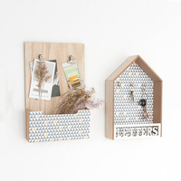 Nordic Modern Interior Wall Decoration Creative Message Board Ornaments Wooden House Storage Rack Shop Door Wall Hanging Gifts