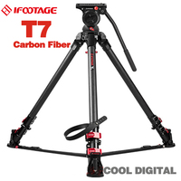 IFOOTAGE Wild Bull T7 Carbon Fiber Legs Professional Tripod with IFOOTAGE KOMODO K5 Fluid Head for GH5 5D A7S DSLR Camera Rig