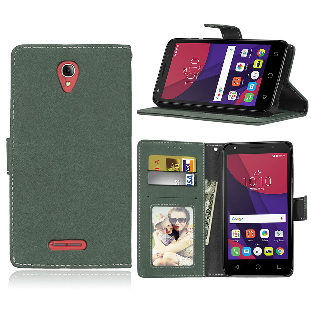 Retro Matte Leather Case For <font><b>Alcatel</b></font> OneTouch Pop 4 Plus <font><b>5056D</b></font> Cover Filp Stand Classical Wallet Photo frame Card slot Phone Bag image