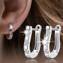 2019 Pendientes Luxury Silver Color Crystal Earrings Flash CZ Zircon Harp Studs Horse Shoe Earrings Women Brincos(China)