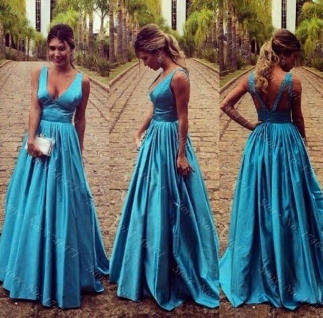 2016 Casual Robe De Soiree Gowns Wedding Guest Dress V Neck Taffeta ...