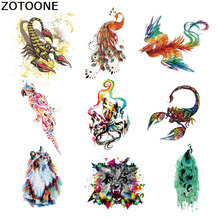 ZOTOONE Watercolor Animal Patch Heat Transfers for Clothes T-shirt Dresses Sweater Thermal Iron on Transfer Clothing E