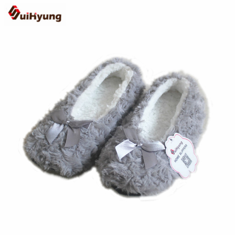 New Winter Warm At Home Women Slippers Cotton Shoes Plush Female Floor Shoes Bow-knot Fleece Indoor Shoes Woman Bedroom Slippers vanled 2017 new fashion spring summer autumn 5 colors home plush slippers women indoor floor flat shoes free shipping