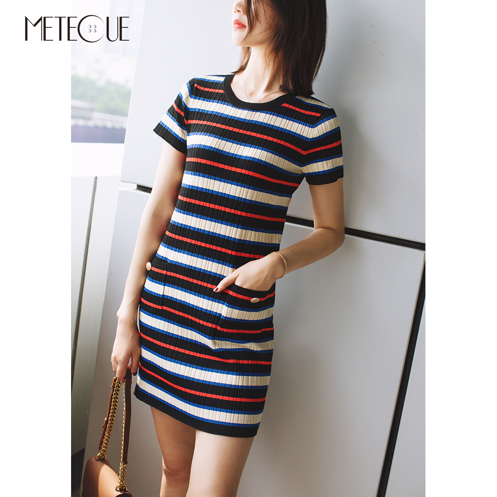 Colorful Striped Pockets Sexy Women Sheath Knitted Dress Short Sleeve O Neck Midi Wrap Dress Womens Spring Summer Dresses 2018 sexy knitted long sleeve deep v neck pack hips women dress fashion solid mini sheath summer dresses new 2017 casual vestido s xl