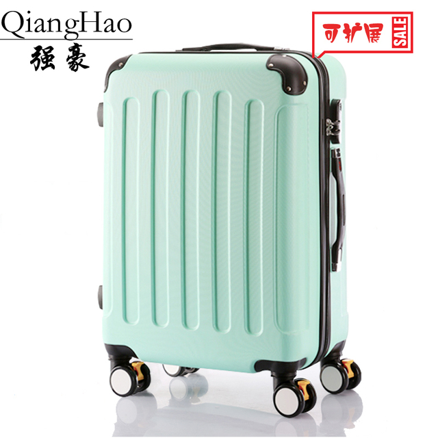 20 22 inch Classic striped patch Trolley suitcase/rolling spinner wheels Pull Rod luggage/Women Girl traveller case boarding bag