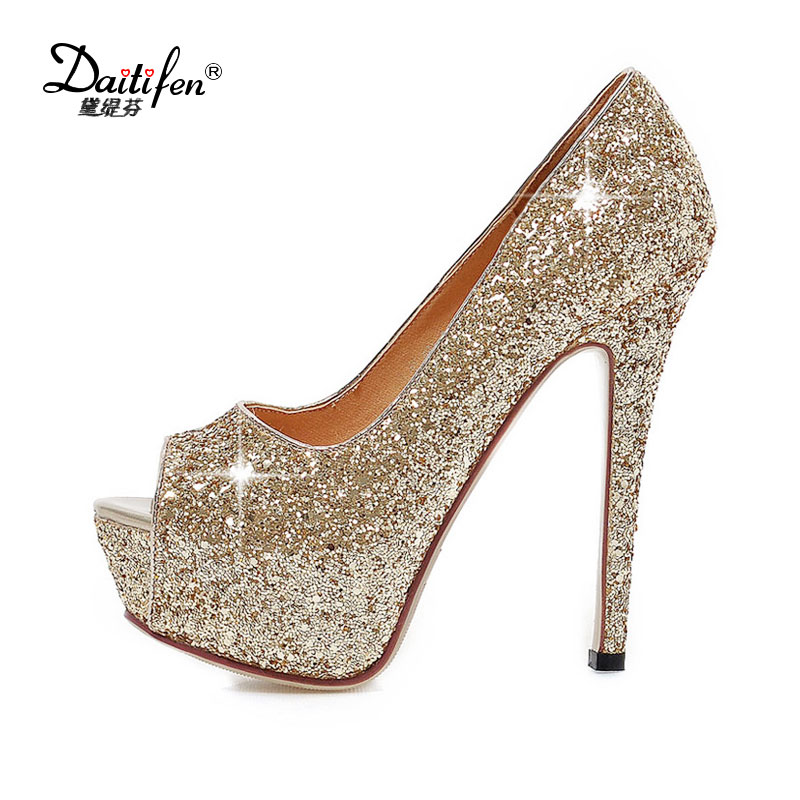 Daitifen 2018 New Spring Women's Fetish High Heels Bling Peep toe Sexy Ladies High Pumps Party Wedding Platform Shoes Size 32-43 meotina women wedding shoes 2018 spring platform high heels shoes pumps peep toe bow white slip on sexy shoes ladies size 34 43