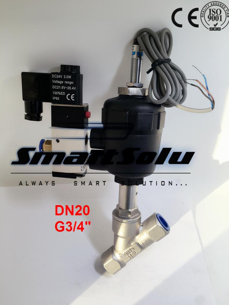 Free shipping DN20 pneumatic angle valve mounted with approach switch and solenoid valve G3/4 smc type pneumatic solenoid valve sy5120 3lzd 01