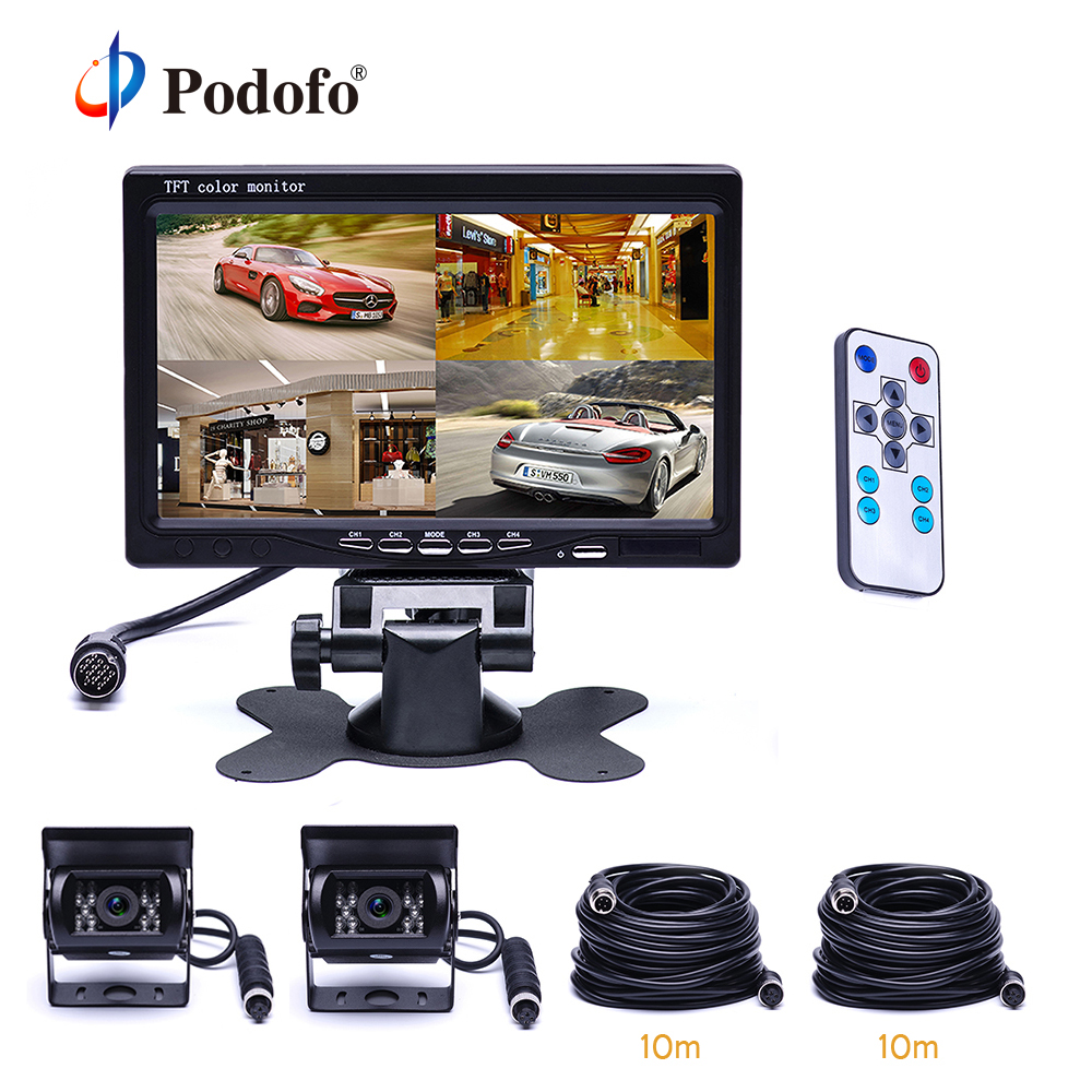 Podofo 7 Split Screen Quad Monitor 18 IR Night Vision Backup Camera Aviation 4 Pins Car
