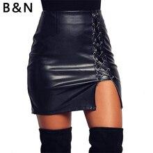 B&N S-XXXXXL Extra Large Sexy Short Skirt Women PU Leather Lace up Bud Straight Zip Split Black Hot Sale Fashion Mini Dress zip up pinstripe skirt