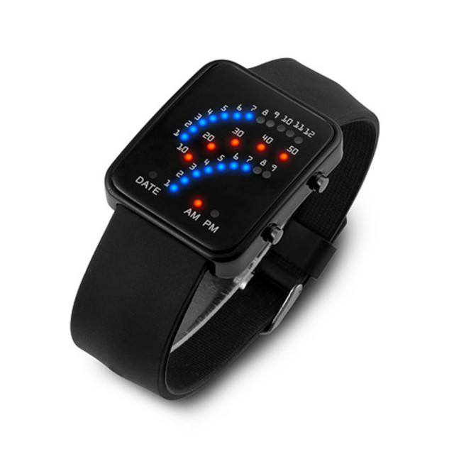 Women Mens Futuristic Watch Japanese Style Multicolor LED Sport Wrist Watch Masculino Reloje Black White Silicone Wristwatch