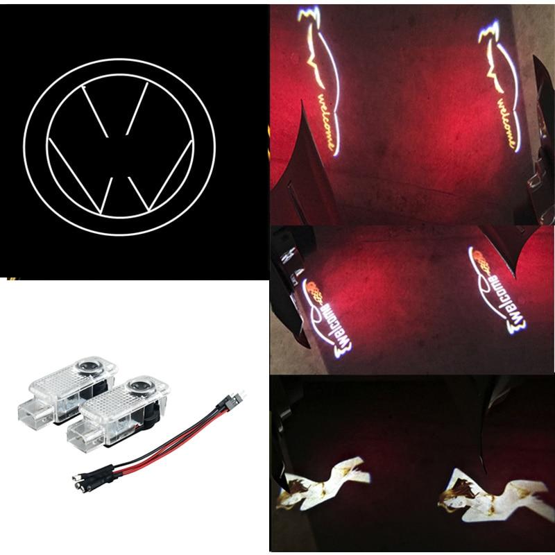 4pcs Car LED Ghost Shadow Projector Laser Courtesy Logo Light For Volkswagen VW Passat B5 B5.5 Phaeton Door Welcome Light