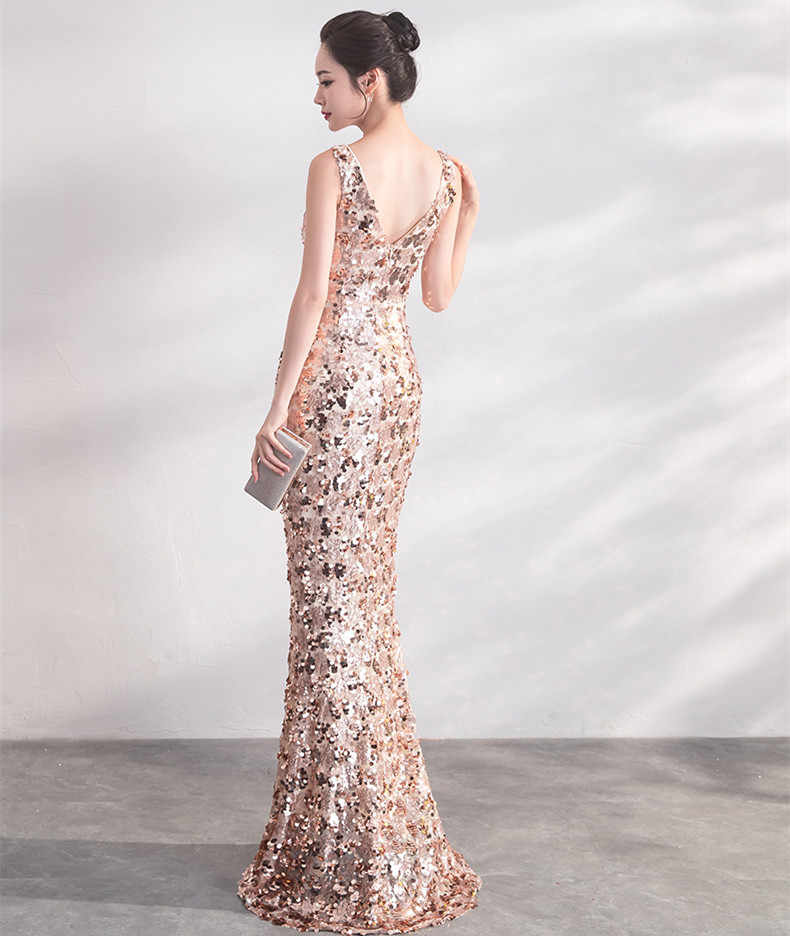 ... JaneVini 2018 Sparkly Rose Gold Sequins Long Bridesmaid Dresses Sexy  Deep V Neck Backless Mermaid Floor ... 8db5e8e432ce