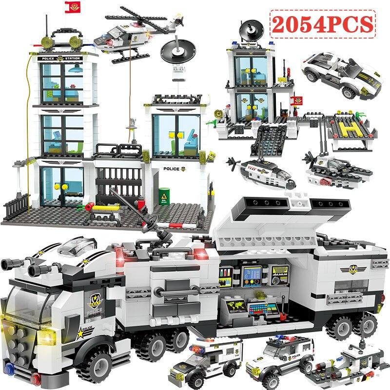2054pcs Building Blocks Police Station SWAT Figures Compatible City Polie Enlighten Bricks Toys For Children Truck