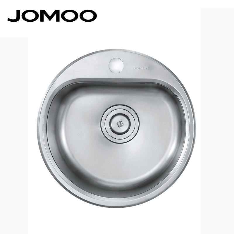 aliexpresscom buy jomoo kitchen sink stainless steel single bowl round shape sink strainer set drain brush finish apron sink evier disipador from - Kitchen Sink Round