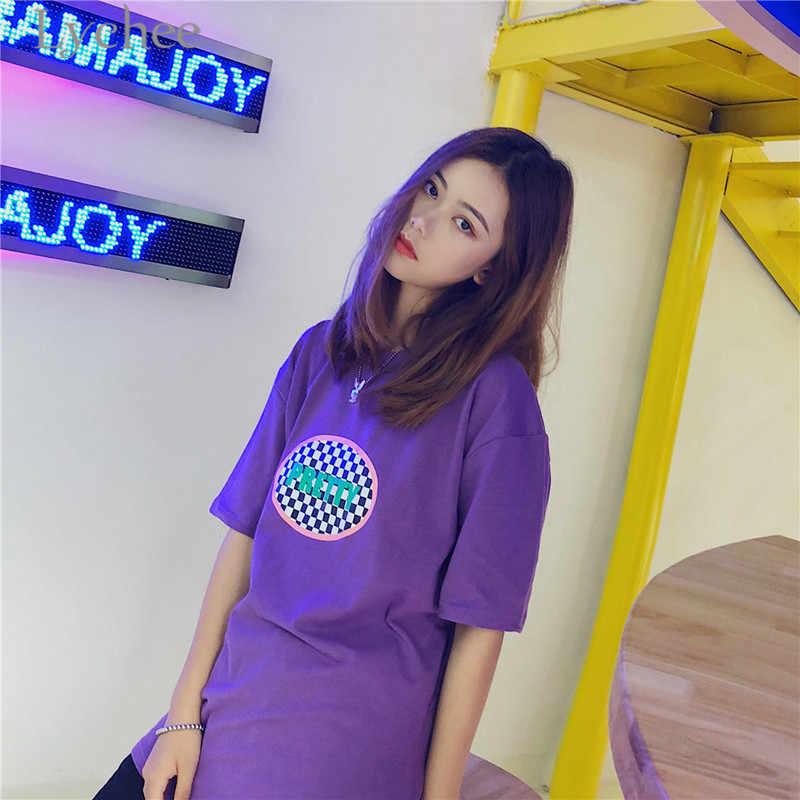 86d1cf829 ... Lychee Harajuku Plaid Letter Print Women T-shirt Short Sleeve O-neck  Female T