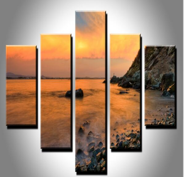 5pc Wall Art Modern Seaside Landscape Original Oil Painting On Canvas Beauty Paintings Pictures Decor