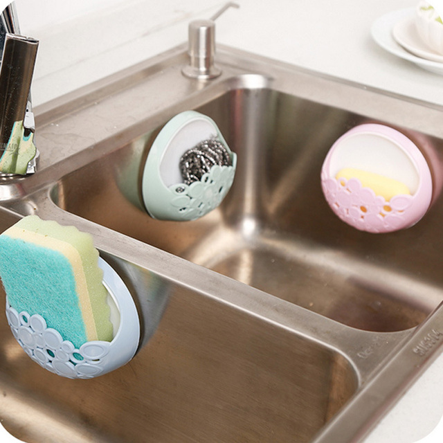 4color No-nail Multi-functional Sucker Soap Dish Bathroom Kitchen Wall-mounted Drain Suction Cup Hollow Soap Shelf Holder JXS 5
