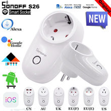 Sonoff S26 WiFi Smart Socket Wireless EU US UK CN AU Plug Wifi Switch Smart Home Automation System Works With Alexa Google Home(China)
