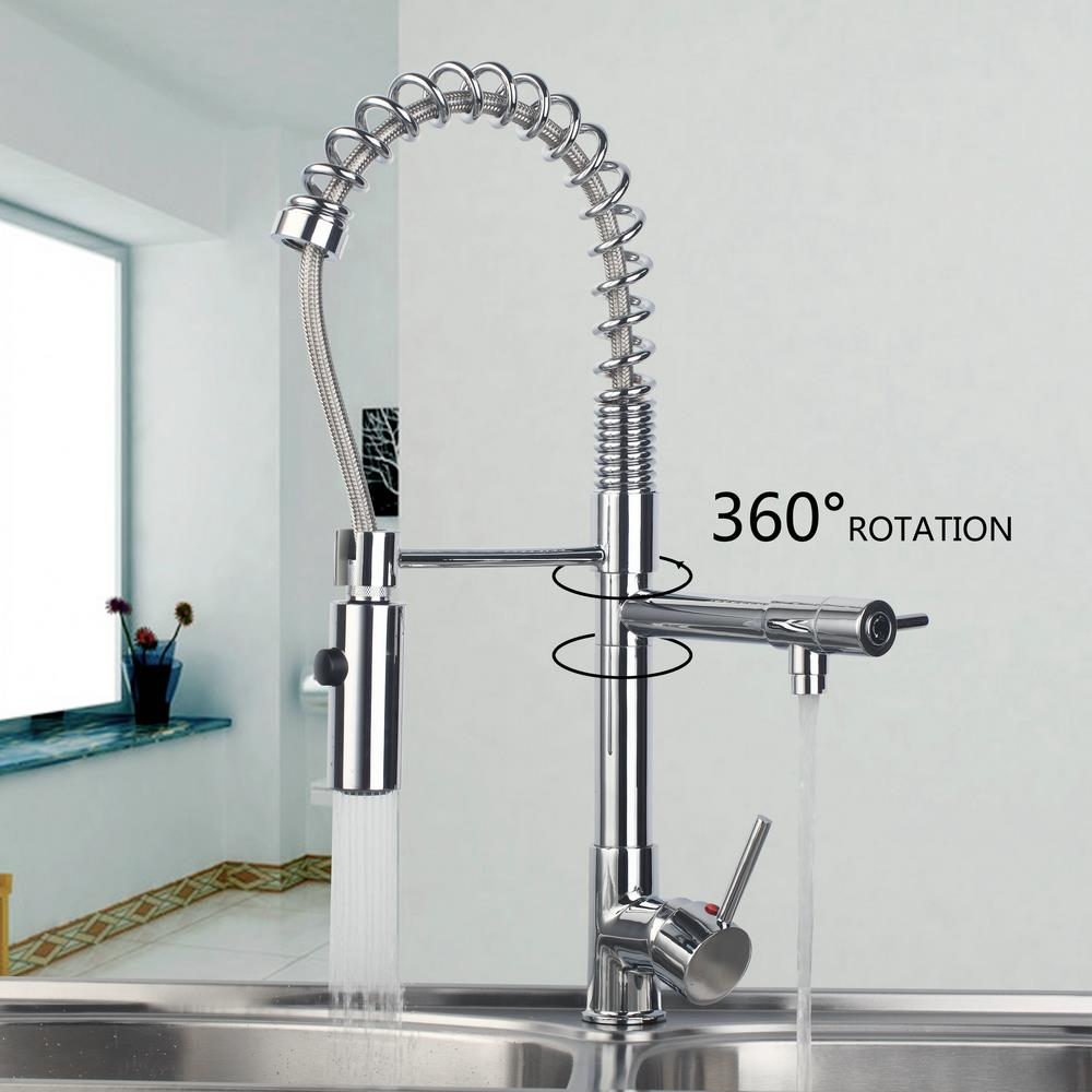 Hot/Cold Water Pull out Down Spray Stream Deck Mount Double Handles Basin Sink Vessel Kitchen Torneira Cozinha Tap Mixer Faucet deck mount spray stream double handles chrome brass water kitchen faucet swivel spout pull out vessel sink mixer tap mf 278