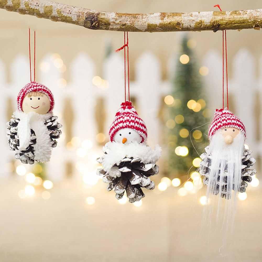 Drewniany domek dla lalek szyszka zawieszki Mini Clown lalka uroczy bałwan dekoracje na boże narodzenie święty mikołaj festiwal Party ozdoby choinkowe