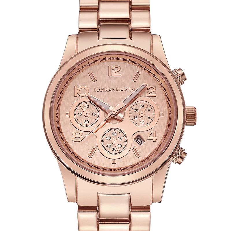 Hannah Martin Classic Women Rose Gold Top Business Fashion Casual Waterproof Watches Quartz Calendar Wristwatch
